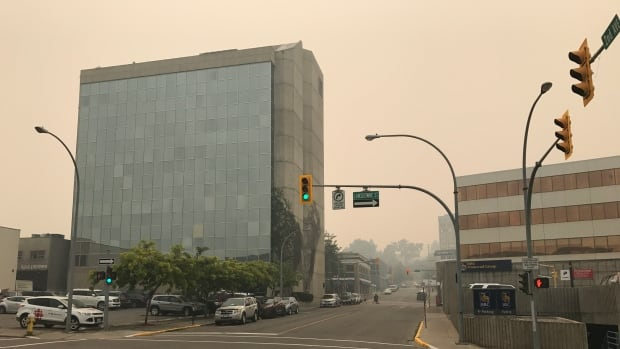 Downtown Kamloops is surrounded by air pollution on August 3, 2017.