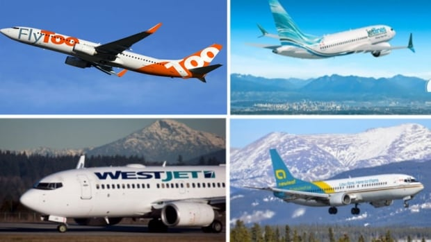 Ultra-low-cost carriers are ultra profitable. So far though the market has been a struggle for domestic carriers in Canada. Shown here (clockwise from top left) are Enerjet, Jetlines, New Leaf and WestJet. WestJet's ultra-low-cost launch is about a year away.