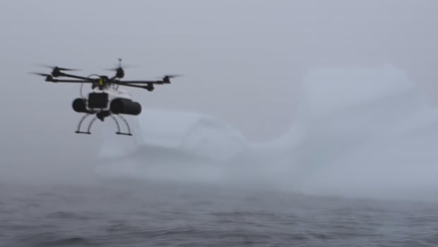 The drone returns to the boat after successfully placing a tracker on this iceberg off Petty Harbour.