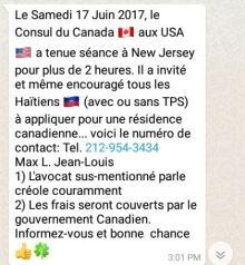 whatsapp message to haitians us to canada asylum-seeking