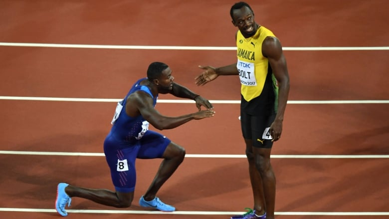 Justin Gatlin pays homage to Bolt at worlds | CBC Sports