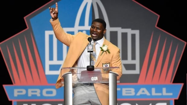 LaDainian Tomlinson delivers his speech at the Pro Football Hall of Fame inductions on Saturday evening.