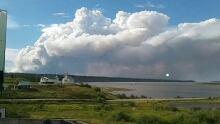 Smoke over Tsiigehtchic, N.W.T.