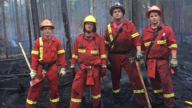 Oromocto Fire Department helped fight the fire in Grand Lake yesterday. T429 crew Lt. Comeau, FF Price, FF Davidson, FF Milne