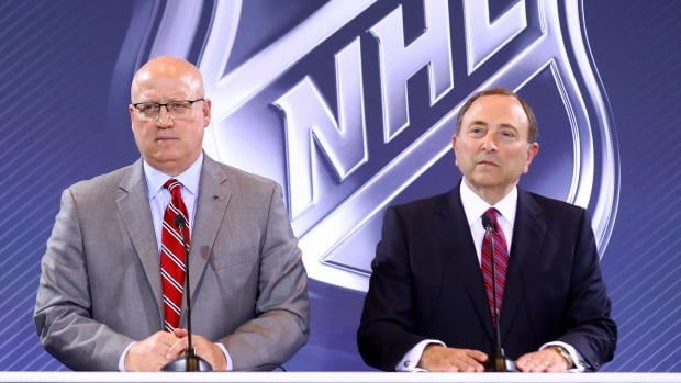 Deputy NHL Commissioner Bill Daly and commissioner Gary Bettman address the media during the Board Of Governors Press Conference prior to the 2016 NHL Awards.