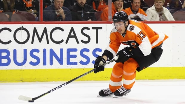 Russia's Roman Lyubimov, shown with the Philadelphia Flyers in April, scored the winner in a 3-2 victory over Canada at a pre-Olympic tournament in Sochi on Monday.