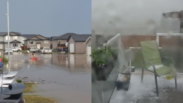 A thunderstorm has flooded the streets of Warman, Sask. Monday night and brought large hail with it.