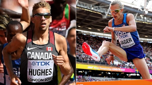 Bowerman Track Club teammates Matt Hughes, left, and Evan Jager, right, will be battling for a world championship in the 3,000-metre steeplechase in London on Tuesday.