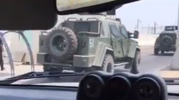 A still image taken from a video posted on Twitter appears to show a Canadian-made Terradyne Gurkha armoured personnel carrier (APC) on the streets of Awamiya in the Eastern Province of Saudi Arabia. The APC is produced by Terradyne Armored Vehicles Inc. in Newmarket, Ont.