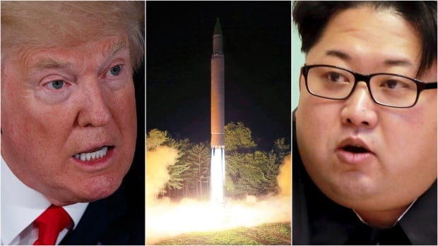 Left: U.S. President Donald Trump. Centre: What is described as the launch of a Hwasong-14 intercontinental ballistic missile at an undisclosed location in North Korea. Right: North Korean leader Kim Jong-un.