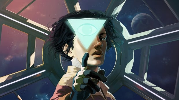 Amy Ferrier (voiced by Sarah Grayson) carries the artificial intelligence ODIN (voiced by Carl Lumbly) in key art for the sci-fi mystery game Tacoma.