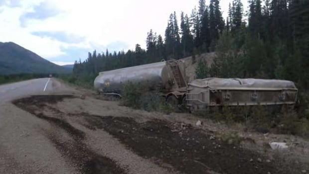 The two fuel tankers at kilometre 1105 on the Alaska Highway just west of the Rancheria Lodge.