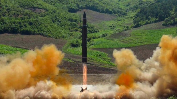 Photo distributed North Korean government shows what was said to be the launch of a Hwasong-14 intercontinental ballistic missile on July 4. There are fears the North Korean missiles have sufficient range to reach the U.S. West Coast.