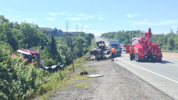 Police responded to a call about a tractor-trailer that drove off the highway, shortly after 7 a.m. on Wednesday.