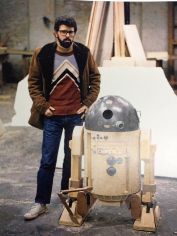 George Lucas with R2D2 prototype