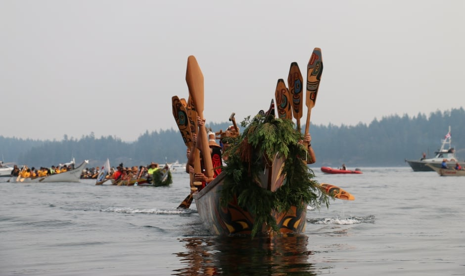 Tribal Canoe Journey canoes in Campbell River