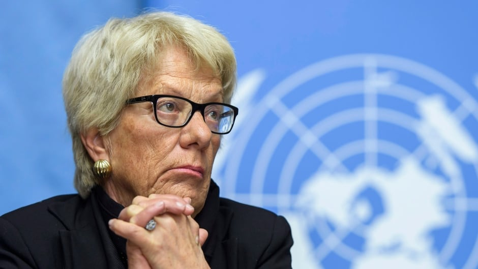 Carla del Ponte, Member of the Independent Commission of Inquiry on the Syrian Arab Republic, at the European headquarters of the United Nations in Geneva, Switzerland.