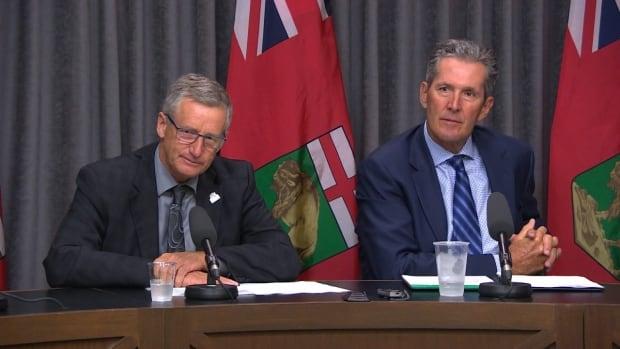 Infrastructure Minister Blaine Pedersen and Manitoba Premier Brian Pallister speak to media on Wednesday.