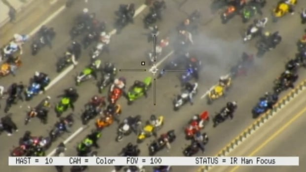 The pack of riders caused major traffic delays and shut down sections of several highways, police said in a release Wednesday.