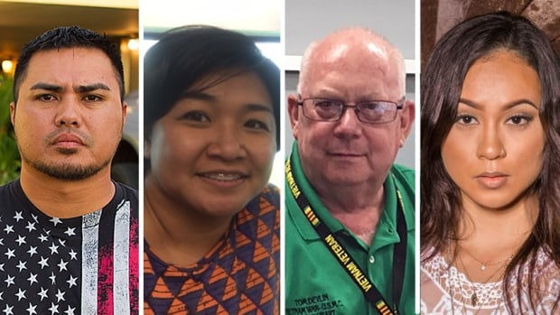 Guam residents, from left, Rodney Cruz, Tina Alicto, Tom Devlin and Jessica Kee say people there are anxious about a threat from North Korea to launch a missile strike near the island, but that life is proceeding basically as normal.