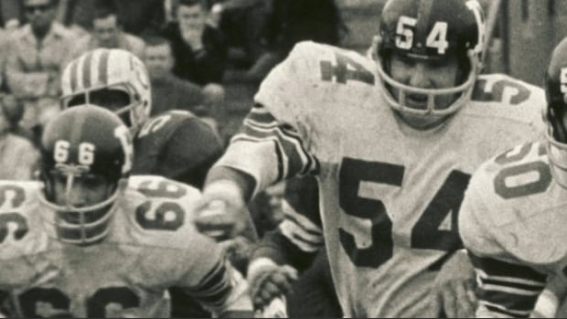 Jerry (Soupy) Campbell (54) was a CFL all-star in each of his seasons with the Ottawa Rough Riders and helped the team win Grey Cup titles 1968, 1969, and 1973.