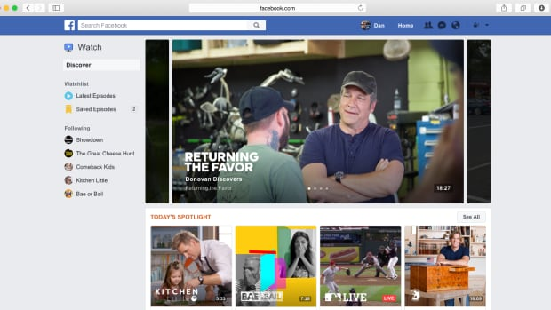 A screenshot of Facebook's Watch platform. The social media giant started rolling out the new section to some U.S. users on Thursday.