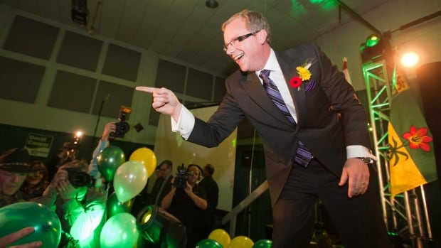 Premier Brad Wall celebrates his election at the Palliser Pavilion on Nov. 7, 2011, in Swift Current, Sask.