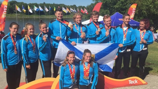 Members of Team Nova Scotia's paddling squad pose for a photo on Thursday.