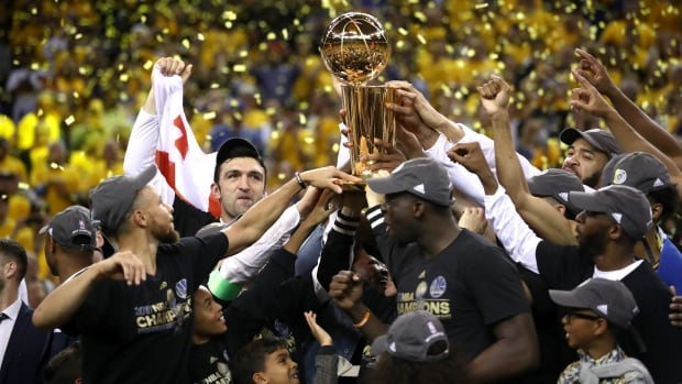 The Golden State Warriors celebrate their championship after defeating the Cleveland Cavaliers in five games in June.