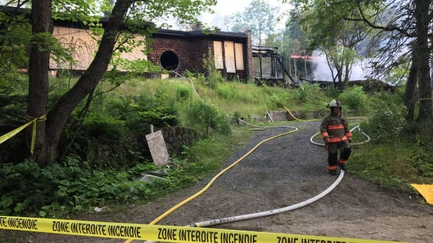 Nestled in Quebec's Laurentian Mountains, the former Le Studio is considered a total loss by firefighters.