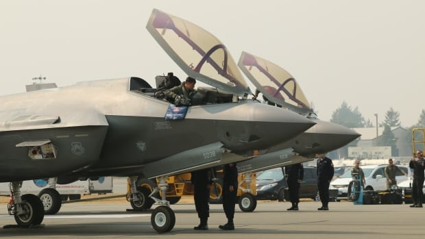 Two U.S. Air Force F-35 Lightning II get ready to go through customs upon arrival in Abbotsford, B.C., earlier this week.