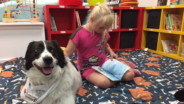 Elizabeth Tucker reads while service dog Dakota calmly sits nearby during a trial run for the Paws 4 Stories program at the Portugal Cove-St. Philip's library.
