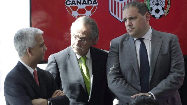 Sunil Gulati, left, President of the United States Soccer Federation, Decio de Maria, centre, President of the Mexican Football Federation, and Victor Montagliani, President of CONCACAF, are getting a late challenge from Morocco for the right to host the 2026 World Cup.