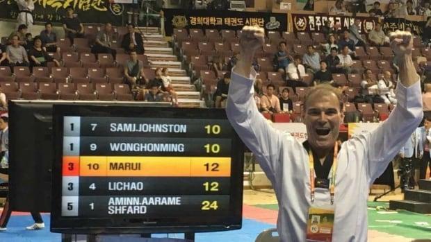 Sam Johnston celebrate his gold medal win.
