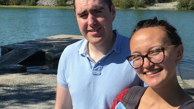 Patrick and Elycia Monaghan at the Yellowknife River, where Elycia's ring was thought to be lost forever - until a local diver took matters into his own hands.