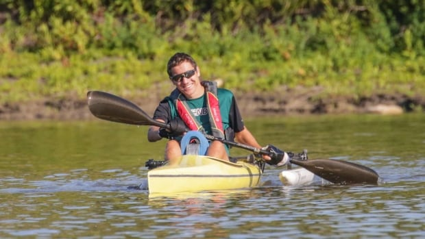Max Arsenault was an honorary participant in the 200 metre kayak race at the 2017 Canada Summer Games.
