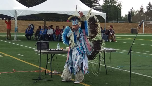 Native American hip-hop artist Christian Parrish Takes The Gun (aka Supaman) performs at the opening ceremonies of the First Nations Summer Games at Leibel Field on Sunday.