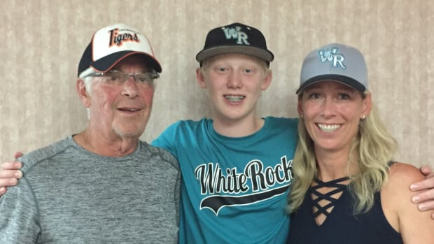 White Rock, B.C. pitcher Chase Marshall, centre, with grandfather, Art, and mother, Carrie.