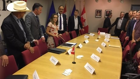 Federal Foreign Affairs Minister Chrystia Freeland (centre left), meets with agriculture groups