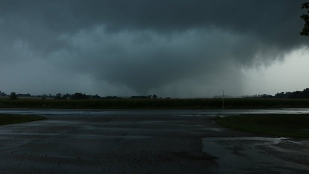 Witnesses report that a tornado touched down west of Hawkesville, Ont., Friday evening. Environment Canada has not confirmed it.