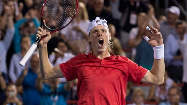 Canadian teenager Denis Shapovalov celebrates his victory over Adrian Mannarino at the Rogers Cup men's event in Montreal on Friday.