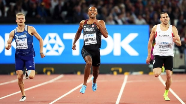 Canada's Damian Warner, middle, seen competing in the 400-metre race yesterday, posted the fastest time in the 110m hurdles on Saturday in London.
