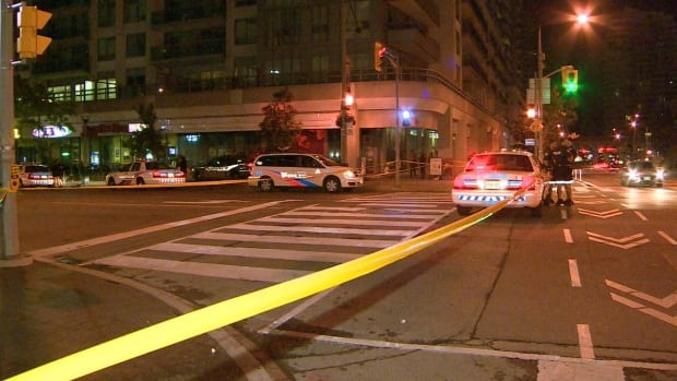 A man was rushed to hospital in life-threatening condition after being stabbed early Saturday near Lower Simcoe Street and Bremner Boulevard.