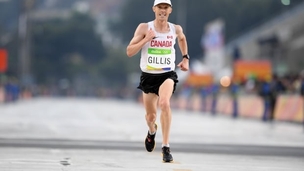 Eric Gillis, seen competing at the Rio Olympics, was forced out of the marathon at the world track and field championships last week due to a stomach bug.