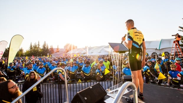 The 1,500 riders taking part in this year's event gather at Winsport in Calgary's northwest prior to the start of the ride.