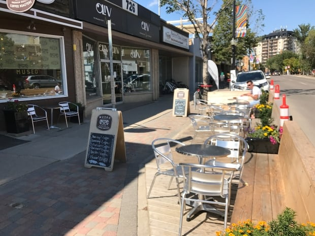 Parking patio on Broadway Avenue Saskatoon August 2017
