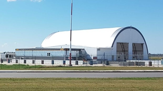 The Public Service Alliance of Canada says this temporary non-passenger screening vehicle facility at the James Richardson Armstrong International Airport poses a safety risk to passengers.