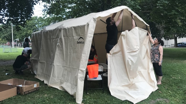 Moss Park overdose prevention tent will now get help from the province to stay open as cold weather approaches. (Carly Thomas/CBC) & Province to provide generator to Moss Park overdose prevention ...