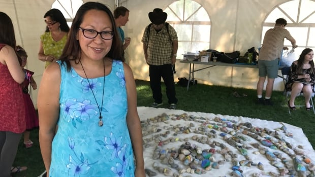 Artist Janine Windolph set up a public art project at Regina Folk Fest which she said invites people to share their stories through art.