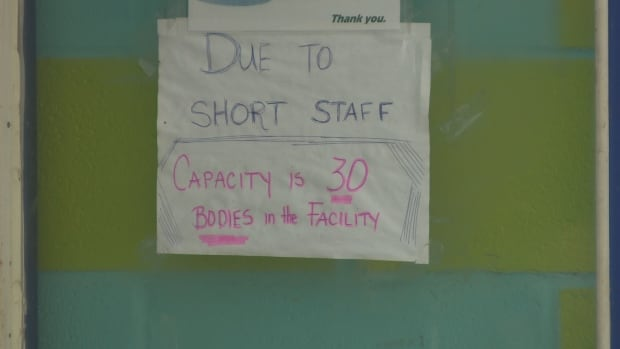 Staff shortage sign Happy pool Winnipeg